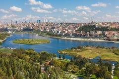 Panoramamening van Istanboel en de Gouden Hoorn Royalty-vrije Stock Fotografie