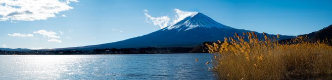Panoramamening van MT Fuji bij Oishi-Park Stock Foto