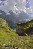 Panoramamening van Oeschinensee, Kandersteg Berner Oberland zwitserland Stock Foto