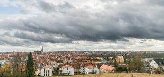 Panoramamening van Regensburg, Duitsland Stock Afbeelding