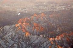 Panoramamening van sneeuwbergen Stock Afbeeldingen
