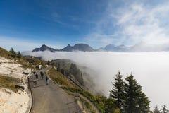 Panoramamening van Zwitserse alpen van Schynige Platte stock foto's