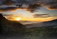 Panoramamening vanaf de bovenkant van de meningspunt van Onderstelbromo, Oost-Java, Indonesië Royalty-vrije Stock Afbeeldingen