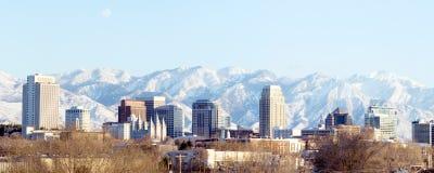 Panoramamitt av huvudstaden av Utah - Salt Lake City Royaltyfri Fotografi
