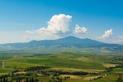 Panoraman av staden av Pienza Arkivbild