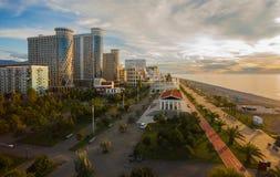 Panoramanattstad Batum royaltyfria foton