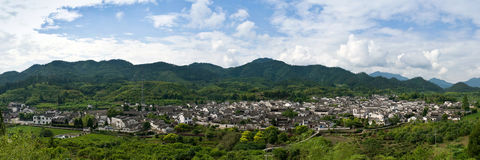 Panoramaof chinese village Royalty Free Stock Images