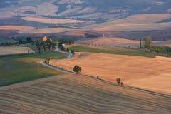 panoramapienzasolnedgång tuscany Royaltyfria Bilder