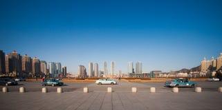 Panoramaplats på den Xinghai fyrkanten, Dalian, Kina Arkivfoto