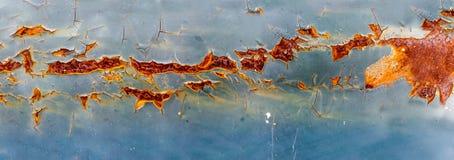 Panoramaroest en erosie van metaaloppervlakte royalty-vrije stock afbeelding