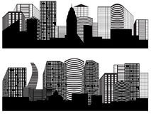 Panoramas of cities. Vector black and white panoramas of cities Royalty Free Stock Photo