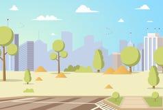 Panoramas del parque de la ciudad de la historieta del ejemplo del vector libre illustration