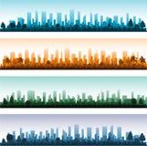Panoramas πόλεων σκιαγραφιών εικονικής παράστασης πόλης Στοκ Εικόνες