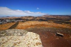 Panoramas    Lanzarote Ισπανία ο πύργος και η αυλάκωση σκοπών κάστρων Στοκ Φωτογραφία