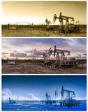 3 panoramas oil pumpjack. Stock Images