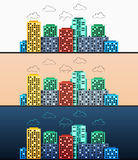 Panoramas urbanos estilizados do projeto moderno em horas do dia diferentes Imagem de Stock
