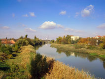 Panoramas of Zrenjanin. View from one of the bridges on the river Bega. In the distance you can see the center of the town of Zrenjanin Stock Image