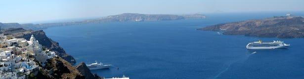 panoramasantorini Royaltyfri Fotografi