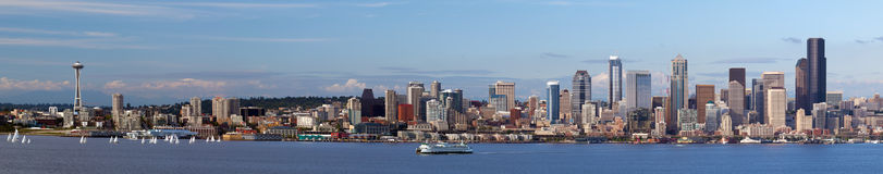 panoramaseattle horisont Royaltyfri Bild
