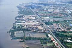 Panoramasicht auf Reis fängt Bangkok-Nähe auf Stockfoto