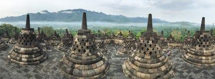 Panoramasikt av den Borobudur templet, Indonesien Arkivbild