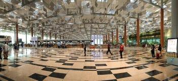Panoramasikt av den Changi flygplatsen i Singapore Arkivbild