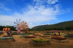 Panoramasikt av den Jim Thomson lantgården, Nakhonratchasima, Thailand Arkivfoto