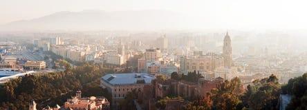 Panoramasikt av den Malaga staden, Spanien royaltyfria foton