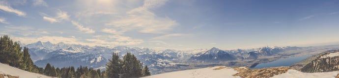 Panoramasikt av den schweiziska fjällängmountaien i vinter med skogen och blå himmel royaltyfri bild