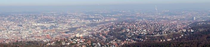 Panoramasikt av den Stuttgart staden, Tyskland Arkivbilder