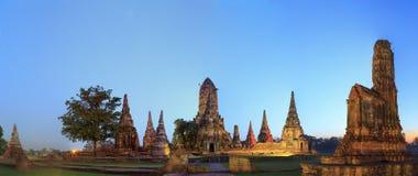 Panoramasikt av fornlämningen i Ayutthaya Royaltyfri Fotografi