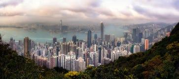 Panoramasikt av Hong Kong från maximumet Royaltyfria Foton