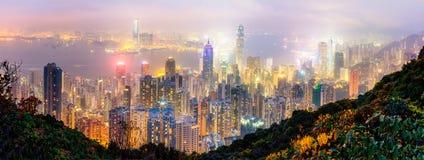 Panoramasikt av Hong Kong från maximumet Fotografering för Bildbyråer