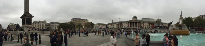 Panoramasikt av Trafalgar Square Arkivfoto
