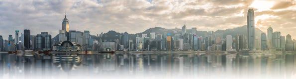 Panoramasikt av Victoria Harbor Fotografering för Bildbyråer