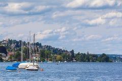 Panoramasikt av Zurich sjön Arkivfoton