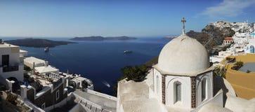 Panoramasikt, Santorini Arkivbilder