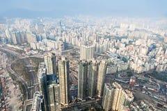 Panoramasikt till Hong Kong Arkivbilder