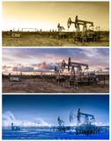 3 panoramasolie pumpjack Stock Afbeeldingen