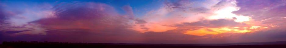 panoramasolnedgång Fotografering för Bildbyråer