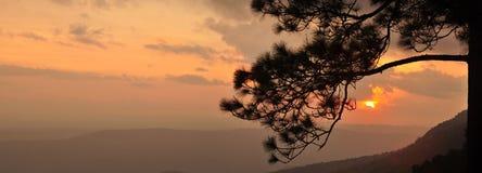 panoramasolnedgång Royaltyfri Foto