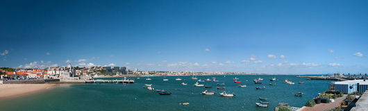 Panoramastrand in Cascais Royalty-vrije Stock Foto