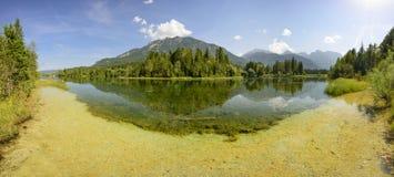 Panoramaszene im Bayern mit Fluss lizenzfreies stockbild