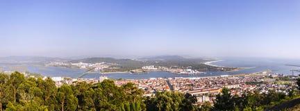 Panoramat över Viana gör Castelo Arkivbild