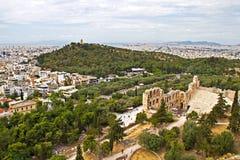 Panoramat av Athens, beskådar från acropolisen Arkivfoto