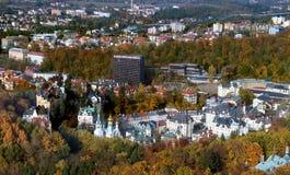 Panoramat av Karlovy varierar, den tjeckiska republiken Royaltyfria Bilder