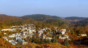 Panoramat av Karlovy varierar, den tjeckiska republiken Royaltyfria Foton