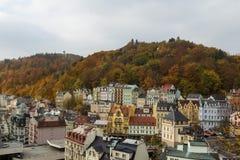 Panoramat av Karlovy varierar, den tjeckiska republiken Royaltyfri Fotografi