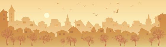 panoramat för illustrationen för bakgrundsstorstadgrunge utformade den stads- vektorn Royaltyfri Foto