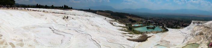 Panoramaterrasser av Pamukkale Arkivbild